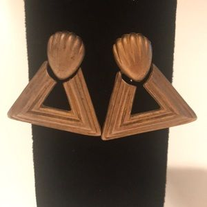 Chunky Brushed Gold Triangle Earrings